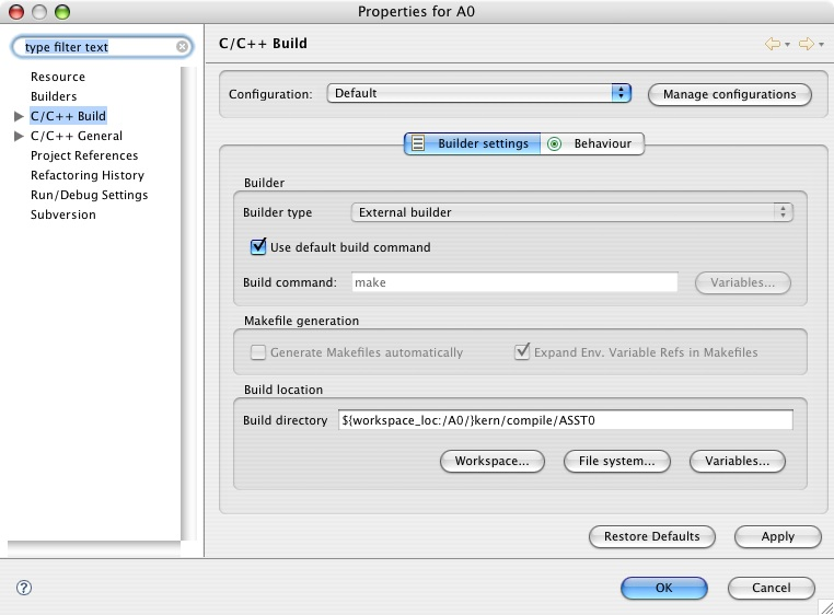 Using Eclipse with OS161